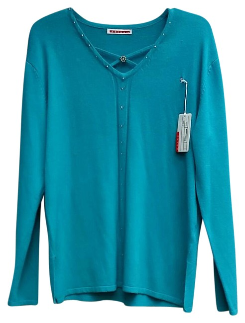 Item - Blue Embellished Button-down Top Size 22 (Plus 2x)