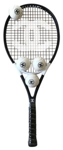 Chanel Black White CC Logo 4x Tennis Balls With Chanel Racquet Set