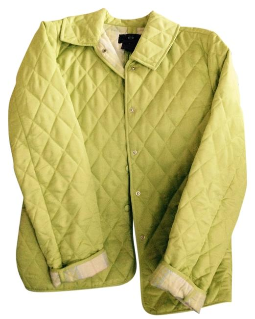 Lime Green Quilted/ Plaid Lining Jacket Size 6 (S) Lime Green Quilted/ Plaid Lining Jacket Size 6 (S) Image 1