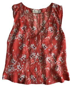 A.L.C. Silk High Back Top Red Flower Print