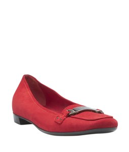 Prada Loafers Suede Red Flats