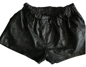 Rag & Bone Leather Trendy Mini/Short Shorts Black Leather