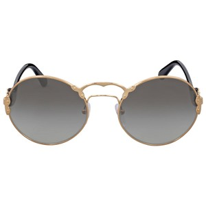 Prada PRADA Round Gold-Tone Grey Gradient Authentic Women's Sunglasses