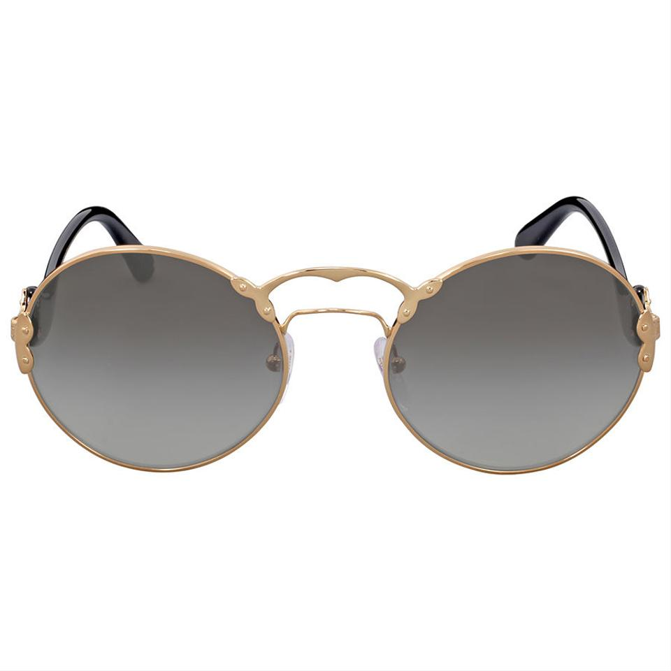 ead49123a1dc7 Prada PRADA Round Gold-Tone Grey Gradient Authentic Women  39 s Sunglasses