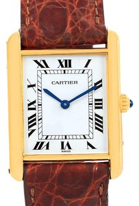Cartier Cartier Tank Classic Paris 18K Yellow Gold Brown Strap Unisex Watch