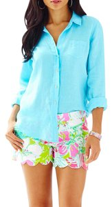 Lilly Pulitzer Lilly Anna Maria Button Down Shirt Searulean Blue