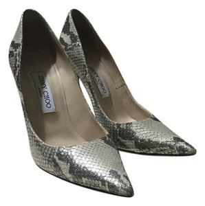 Jimmy Choo Heels Luxury Metallic Yellow Gold Shimmer Snake Print Leather Pumps