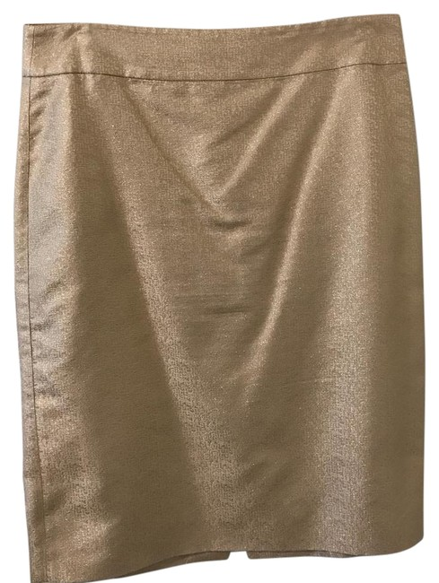 Item - Gold and Cream Shimmer Silk Pencil Skirt Size 10 (M, 31)