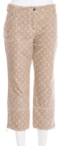 Louis Vuitton Lv Monogram Logo Embroidered Denim Capri/Cropped Pants Beige, White
