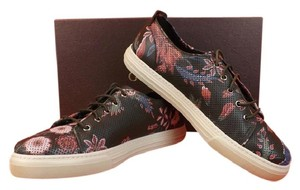Gucci Multi-color Mens Shagreen Perforated Floral Leather Lace Up Sneakers 12.5 13.5 Shoes