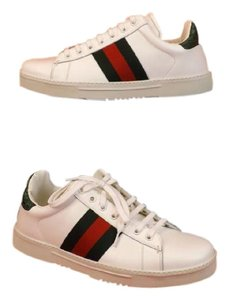 Gucci Mens White Leather Logo Green Crocco Lace Up Sneaker 5.5 6.5 #125375