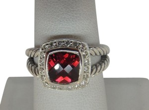 David Yurman size 7 Albion Petite Ring Garnet With Pave Diamonds