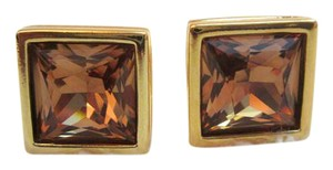 Swarovski Amber and Gold Plated Colored Crystal Swan Signed Cufflinks/Studs