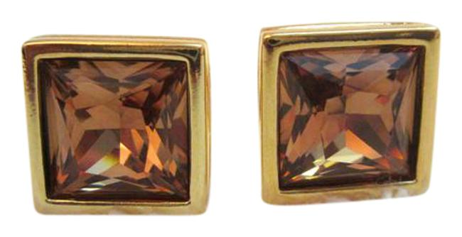 Item - Amber and Gold Plated Colored Crystal Swan Signed Cufflinks/Studs