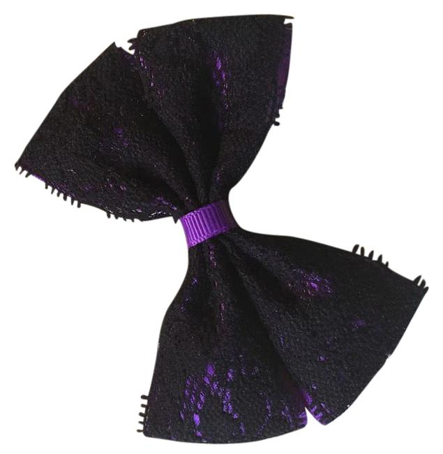 Purple and Black Handmade with Lacean Alligator Clip Hair Accessory Purple and Black Handmade with Lacean Alligator Clip Hair Accessory Image 1
