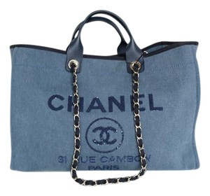 f396dc283 Chanel Deauville Bag Sequins Large 2017 Navy Canvas Tote - Tradesy