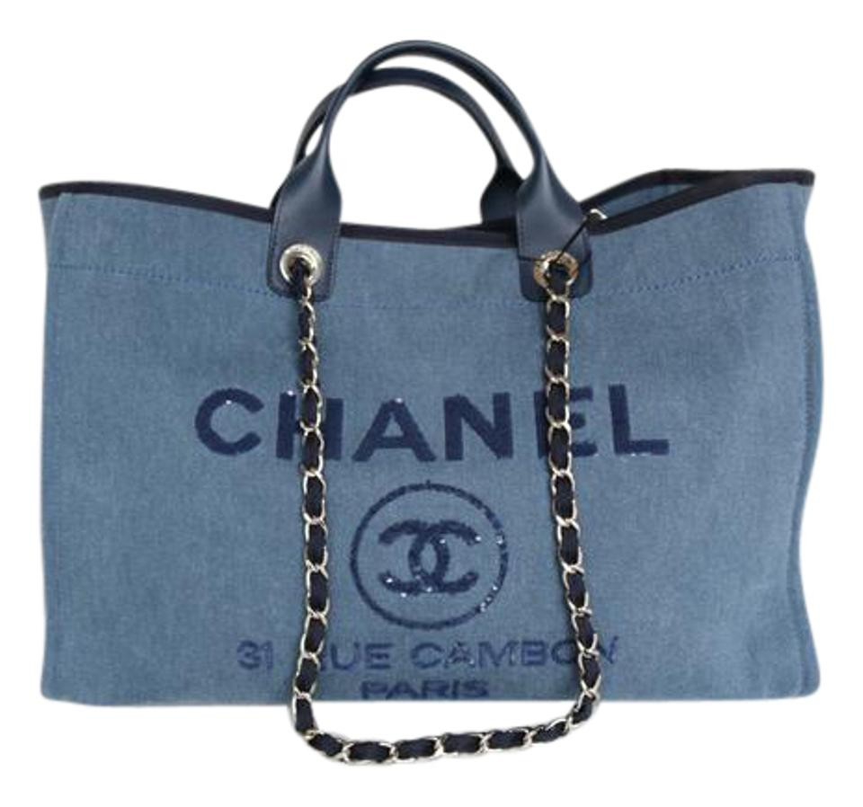 Chanel Deauville Large 2017 Sequin Tote In Navy