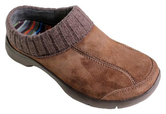 Dansko Suede Leather Knit Trim Brown Mules