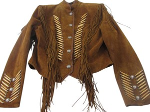 Cripple Creek Fringe Embellished Suede Leather Carmel Brown Leather Jacket