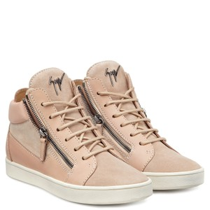 Giuseppe Zanotti Leather Suede High Top Sneakers Beige Athletic