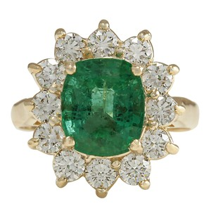 Fashion Strada 3.98CTW Natural Emerald And Diamond Ring 14K Solid Yellow Gold