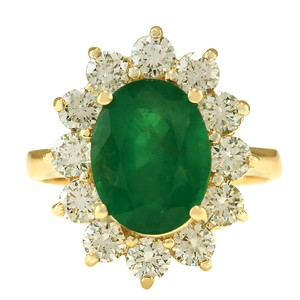 Fashion Strada 4.75CTW Natural Emerald And Diamond Ring In 14K Yellow Gold