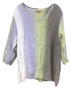 FLAX Top Blue, Gray, Green, White