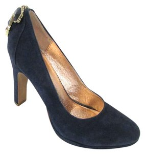 Miss Albright Suede Leather Jewels Embellished Navy Pumps