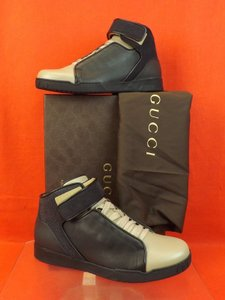 Gucci Beige/Black Mens Pebbled Leather Suede Hi Top Sneakers 5.5 6.5 Shoes