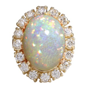 Fashion Strada 8.03CTW Natural Ethiopian Opal And Diamond Ring In 14K Solid Yellow Go