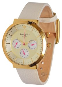 Kate Spade BRAND NEW KATE SPADE (1YRU0512) WHITE LEATHER GOLD CHRONOGRAPH WATCH