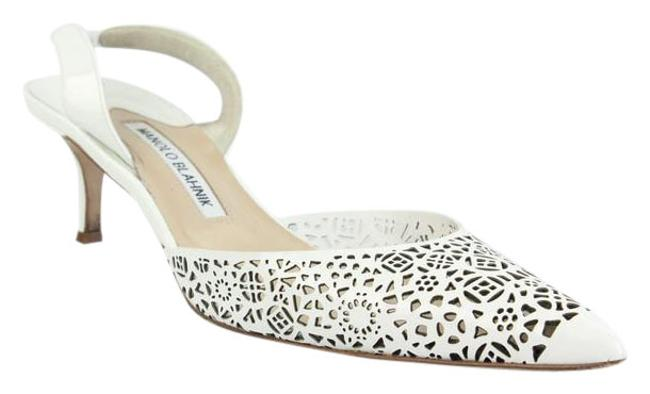 Item - White Perforated Patent Pointed Toe Slingback Formal Shoes Size US 8.5 Regular (M, B)