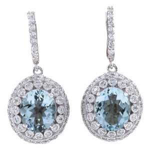 Fashion Strada 7.34CTW Natural Aquamarine And Diamond Earrings 14K Solid White Gold