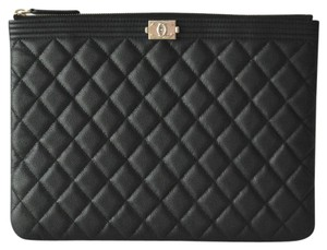Chanel Le Boy Boy Caviar Sliver Clutch