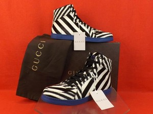 Gucci Navy/ Black Mens White Striped Ponyhair Hi Top Lace Up Coda Sneakers 7.5 8.5 Shoes