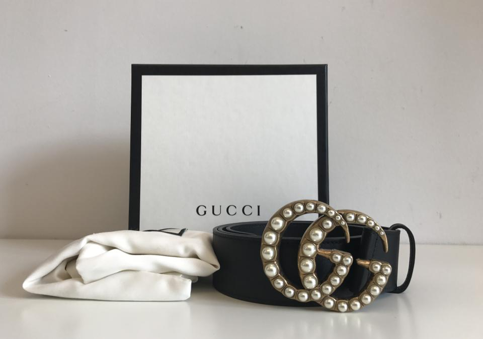 c4312c12d66 Gucci Black Leather with Pearl Double G Belt - Tradesy