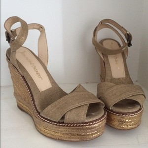 Jean-Michel Cazabat Espadrille Ankle Strap Metallic Gold Wedges