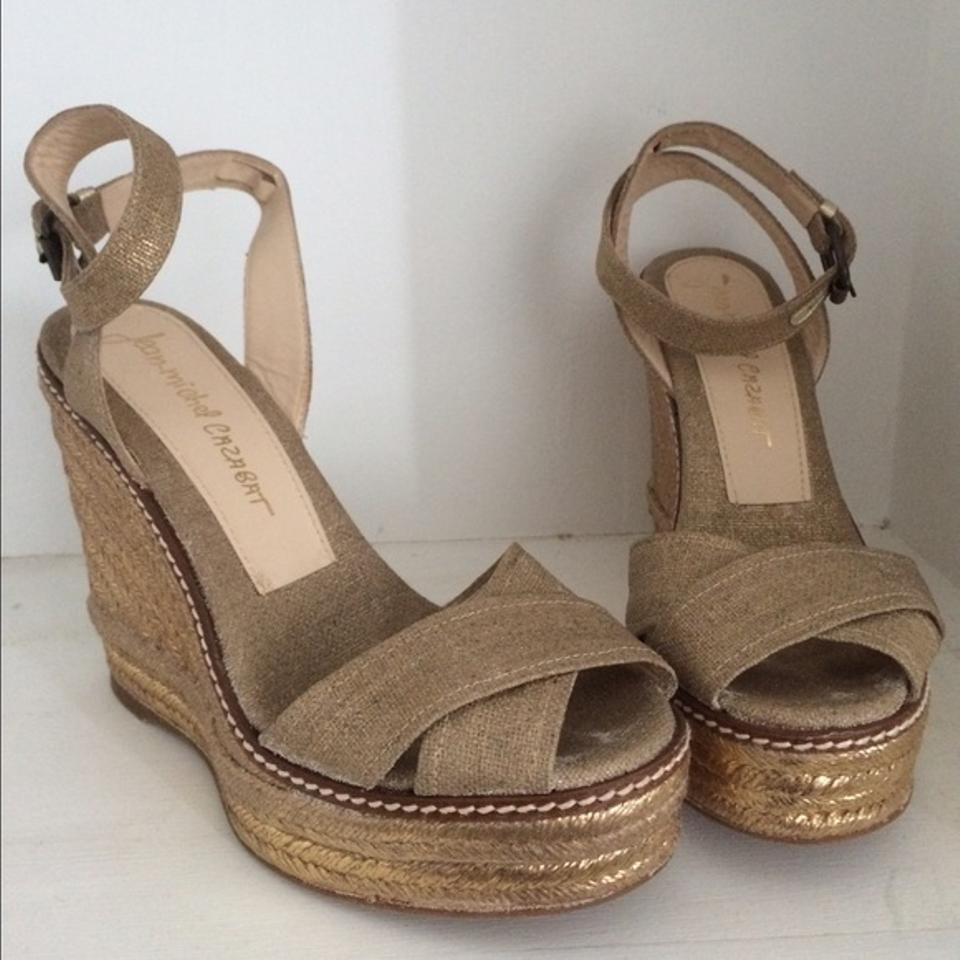 Jean-Michel Cazabat Metallic Gold Ankle Wedges Strap Espadrille Wedges Ankle cb9915