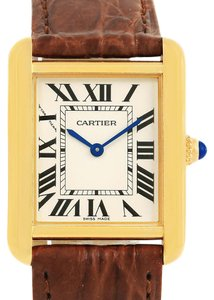 Cartier Cartier Tank Solo Yellow Gold Steel Brown Strap Ladies Watch W1018755