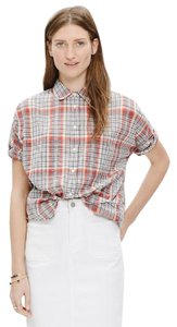 Madewell Plaid Courier Button Down Shirt red plaid