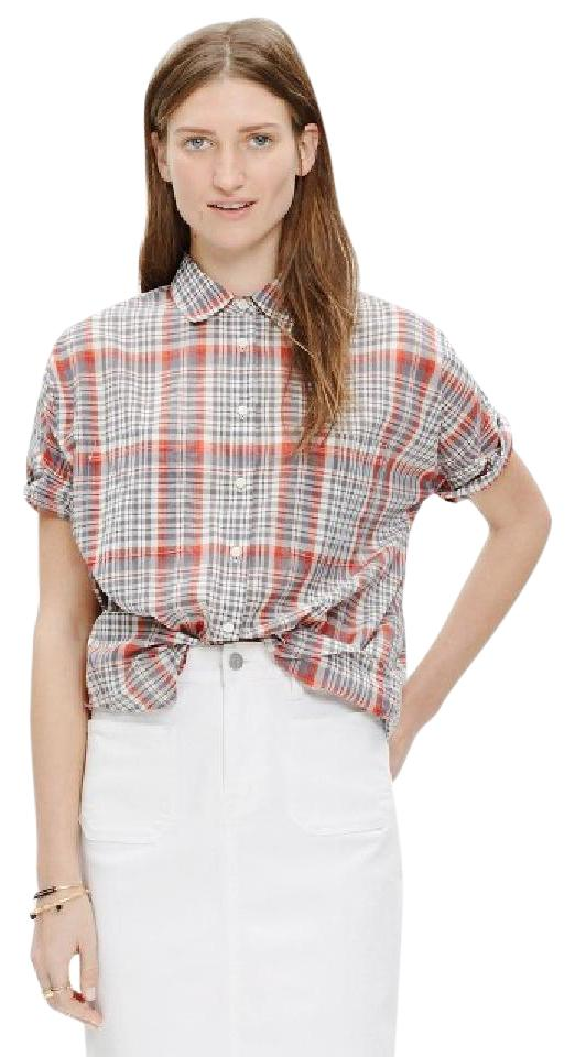 d0b159d6b Madewell Red Plaid Courier Shirt Button-down Top Size 12 (L) - Tradesy