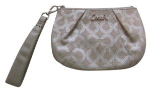Coach Wristlet in Tan/Silver
