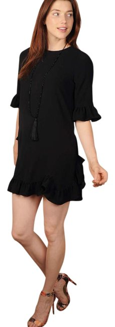 Cousin Earl Black Sassy Ruffle Short Night Out Dress Size 2 (XS) Cousin Earl Black Sassy Ruffle Short Night Out Dress Size 2 (XS) Image 1