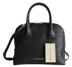 Burberry Greenwood Leather Bowling Satchel in Black