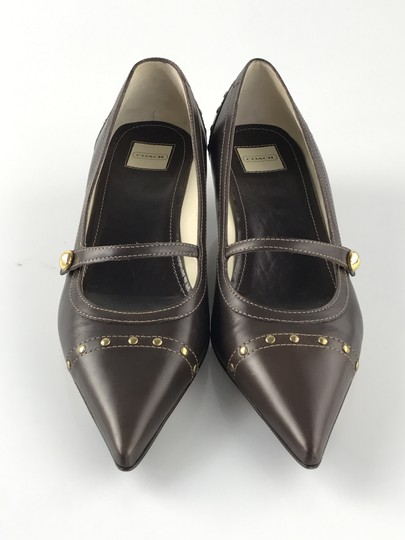 Coach Pointed Toe Gold Hardware Leather Mahogany Pumps