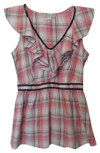 Lil Tunic Sleeveless Anthropologie Plaid Top Pink, white, black