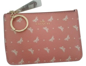 Coach NEW COACH butterfly large card Case holder Key chain coins pouch