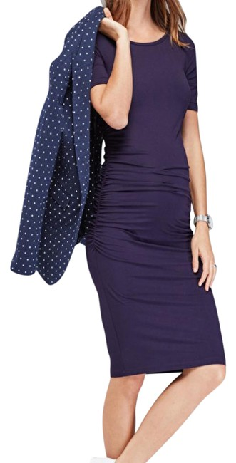 Item - Blue Ruched Maternity Dress Size 6 (S)