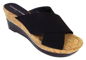 Donald J. Pliner Cork Comfortable Wedge Slide Black Sandals