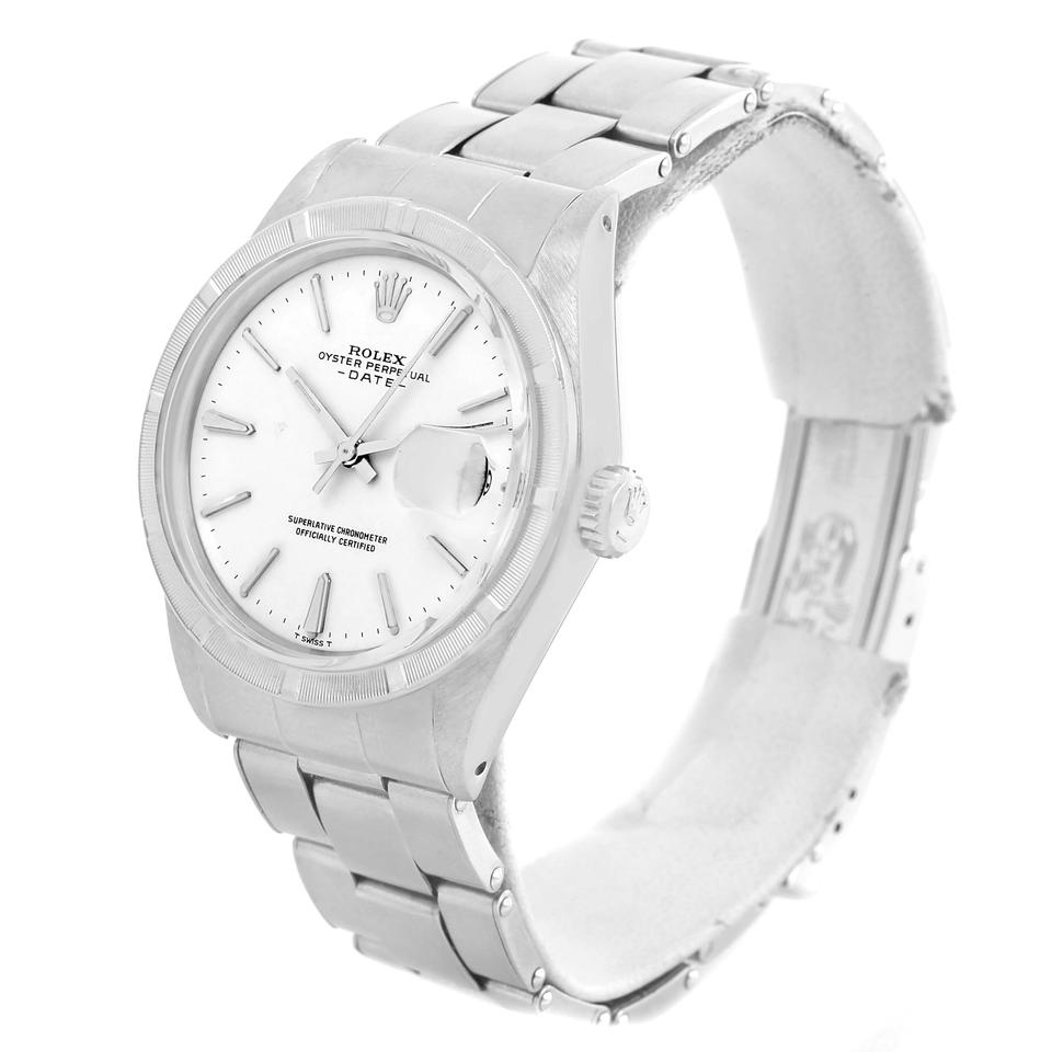 Rolex white vintage dial stainless steel mens watch